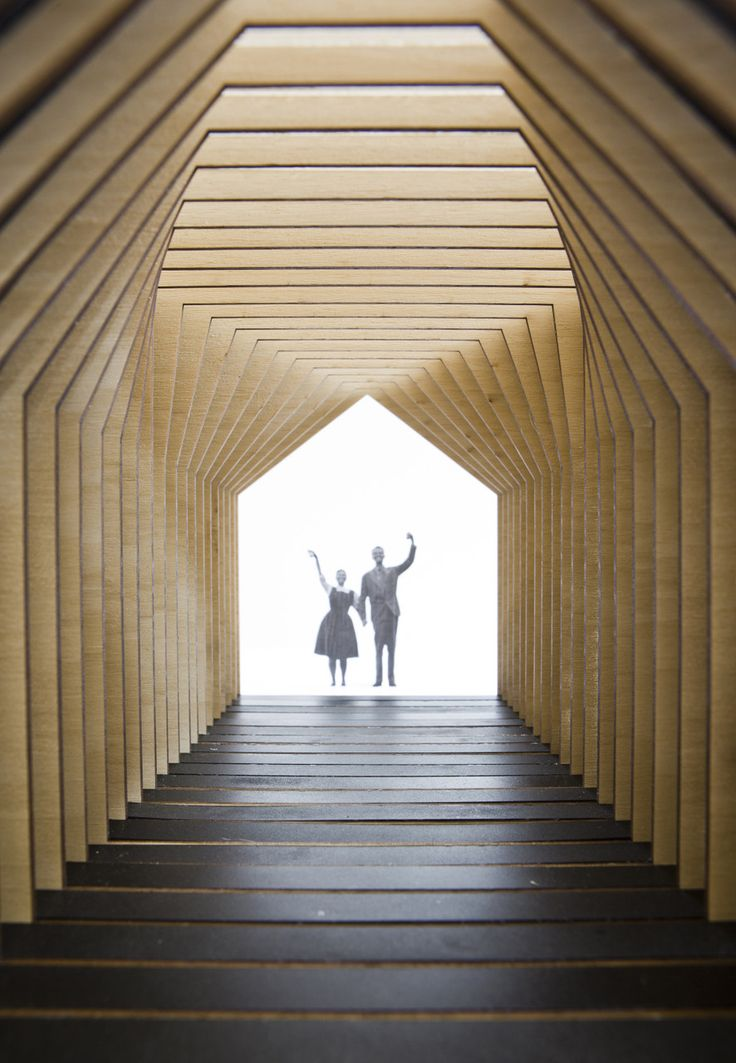 Inside, a slightly different laser cut in each slate allows the pitched roof to be gradually opened, making the most use of its repetitiveness; repetition generates structure, void, space and light. — Anna & Eugeni Boch | Barcelona, Spain — Chicago Architecture Biennial Lakefront Kiosk Competition