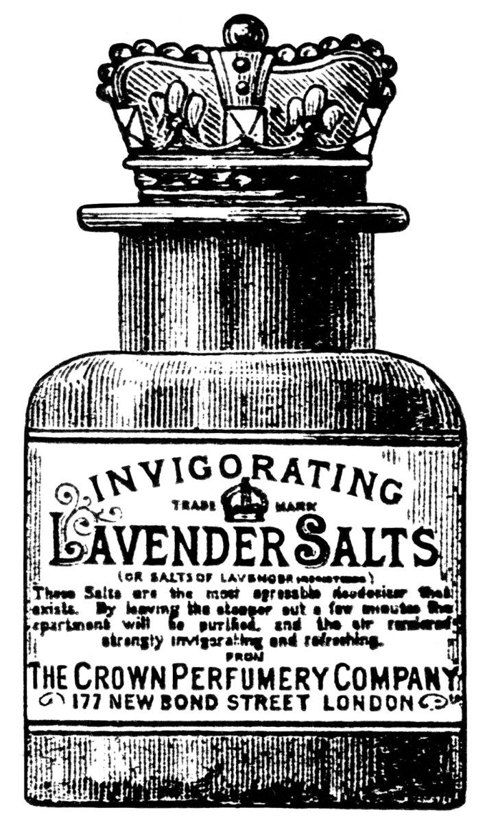 Here is a vintage advertisement for Lavender Salts manufactured by the Crown Perfumery Co. The ad includes an illustration of the beautiful bottle of lavender salts with a crown shaped lid. The ad …