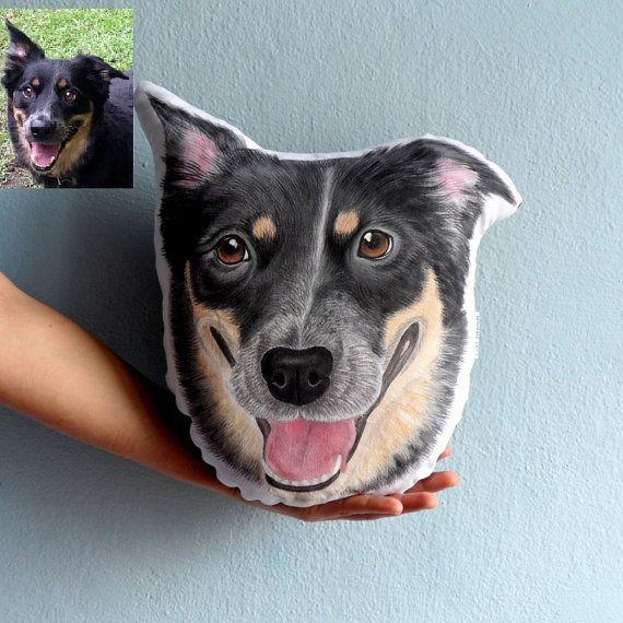 Custom Dog Portrait  Pillow  Australian Shepherd  #dogpillow #petportrait #doglovers #dog #australianshepherd #handmade #animalart #gift