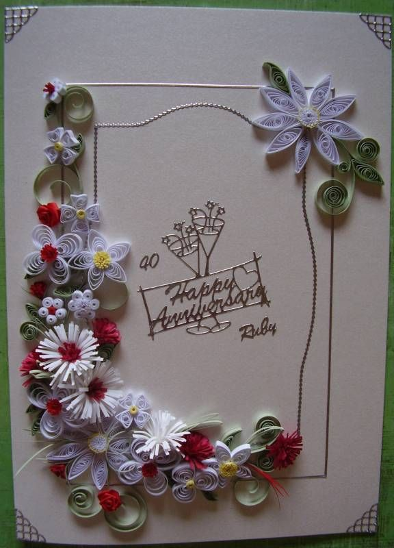 Ruby Wedding Card Quill Quilling