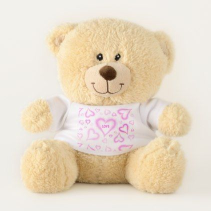 Pink Hearts Personalized Teddy Bear - romantic wedding love couple marriage wedding preparations