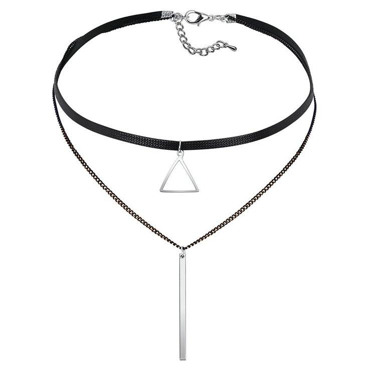 Epinki Damen Choker (Verstellbar), Halskette Gliederkette Leder Hohl Dreieck Streifen Form Anhänger Gothic Halsband Silber Schwarz mit Zirkonia, 34.3+6.2 CM: Amazon.de: Schmuck