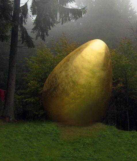 What Came First?  Golden egg by Magdalena Jetelová