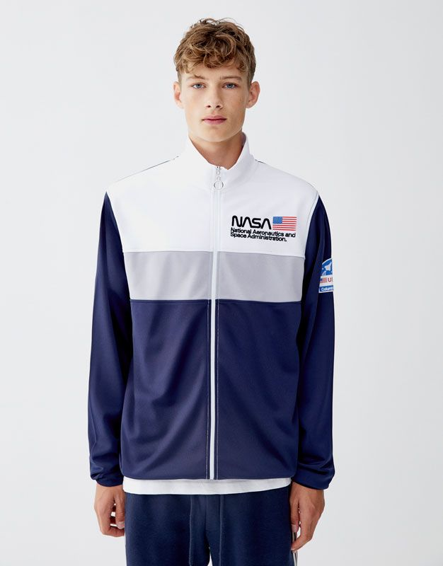 Sudadera Nasa Cremallera Pull Bear Adidas Jacket Athletic Jacket Rain Jacket