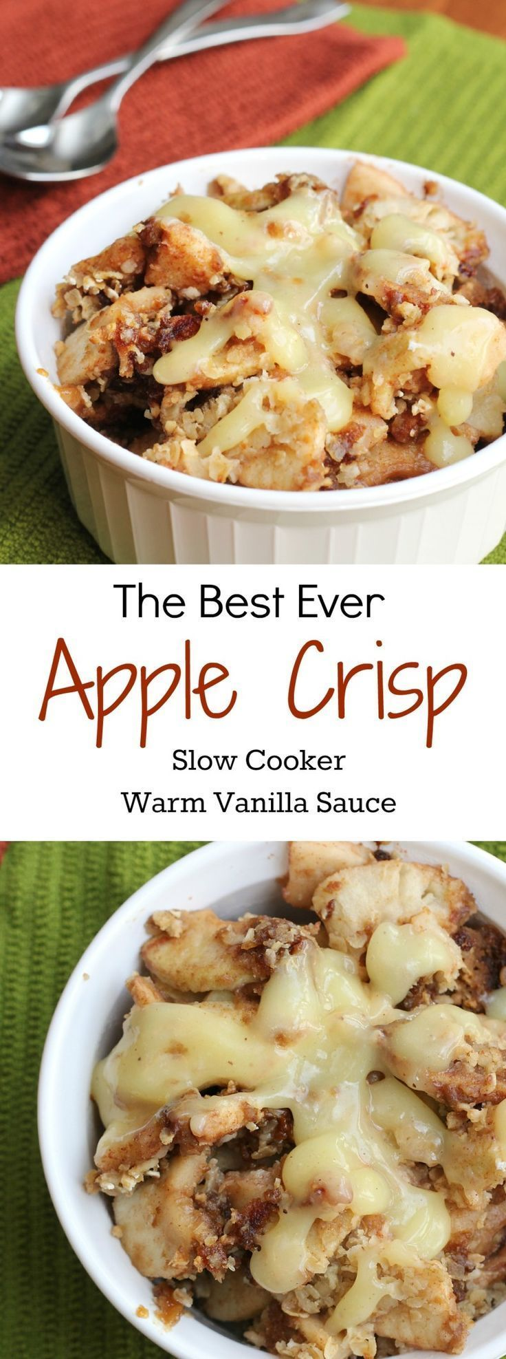 You might have many apple crisp recipes in your collection yet this one for Slow Cooker Apple Crisp with Warm Vanilla Sauce raises the bar!