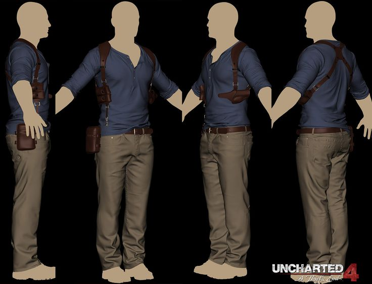 ArtStation - Uncharted4 Drake's clothing/accessories model, Colin Thomas