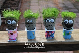 Doodle Craft...: Little Chia Pet heads!