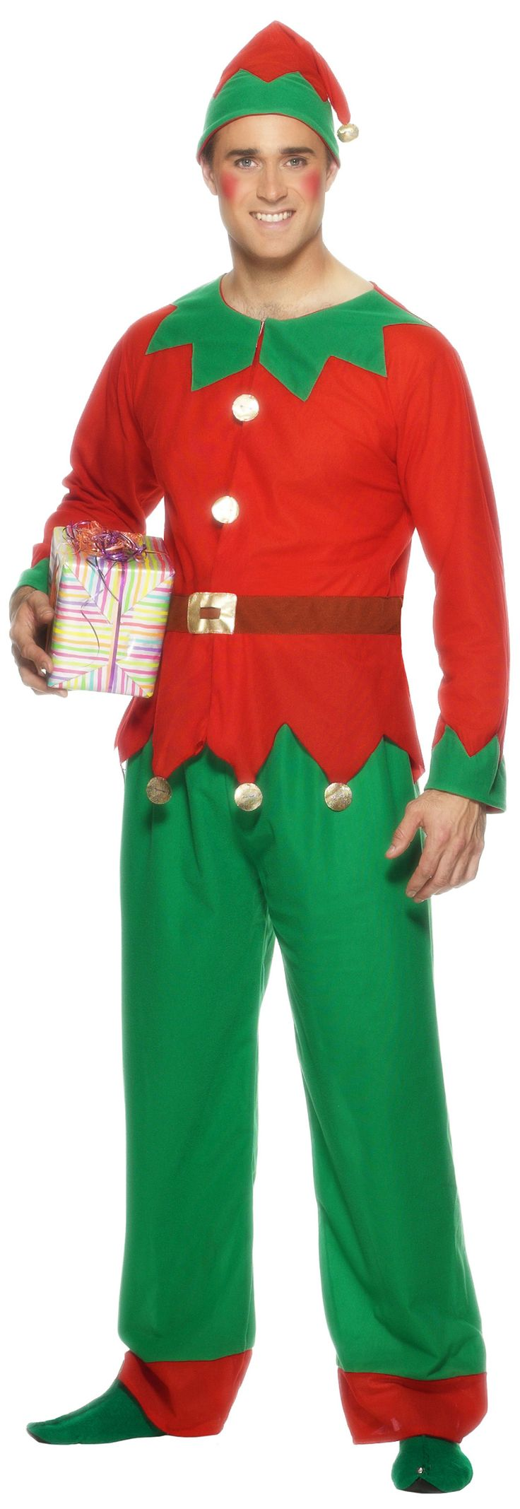 Déguisement elfe homme Noël : Ce déguisement de lutin pour homme comprend le haut, le pantalon, le chapeau, et la ceinture.Le pantalon de couleur rouge et vert est assorti à la tunique. La tunique comporte des...