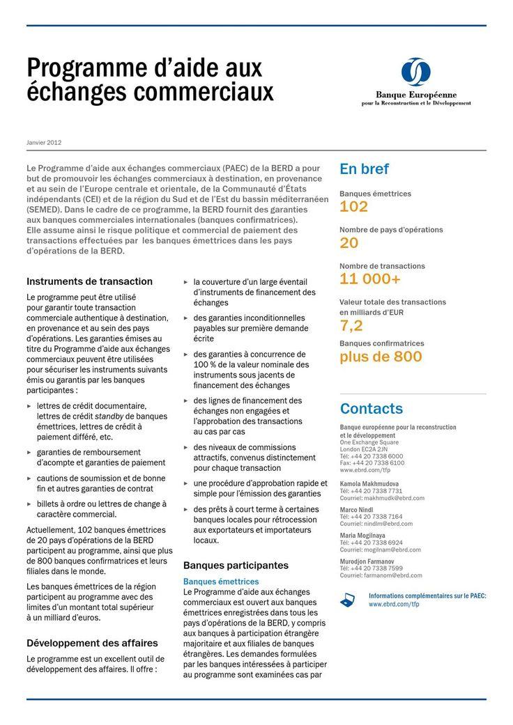 EBRD Trade Facilitation Programme French by Lina Hayek