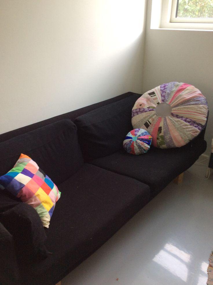 Pixel and sun pillows