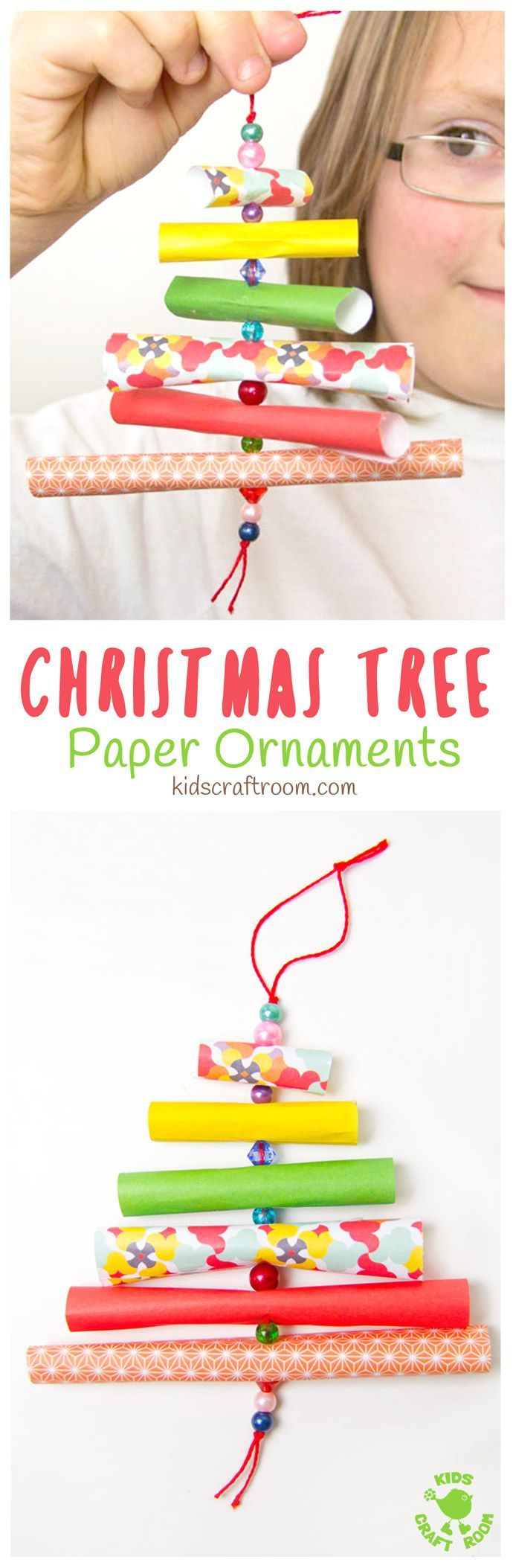CHRISTMAS TREE PAPER ORNAMENTS - Have fun with paper and beads making adorable homemade Christmas ornaments in the shape of Christmas trees. Pretty enough for grown-ups, simple enough for kids! #christmas #christmascrafts #christmasideas #christmascraftsforkids #christmastree #papercrafts #paper #kidscrafts via @KidsCraftRoom