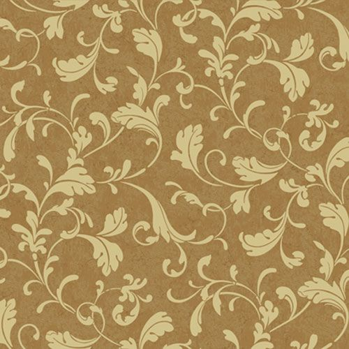 Proper English Gold and Straw Tuscan Leaf Scroll Wallpaper