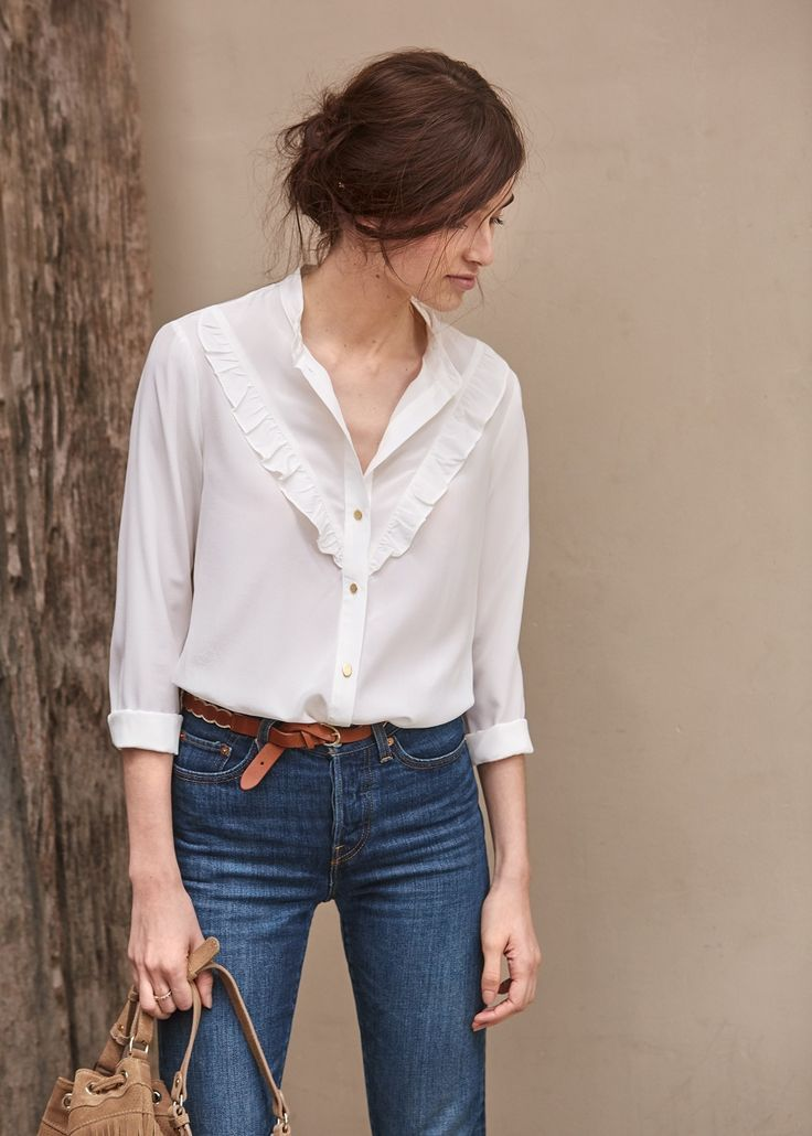 Sezane I Like How The Ruffle Is There But Understated Romantic Blouses Fashion Blouses For Women