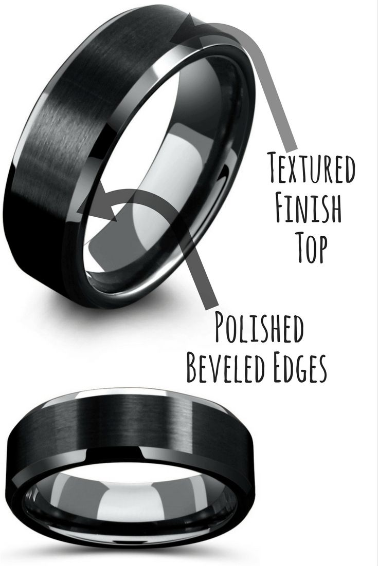 8mm mens black tungsten wedding ring with matte center - All Black Wedding Rings