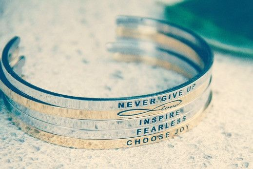 Inspirational Bracelets: never give up. infinite love. inspire. fearless. choose joy