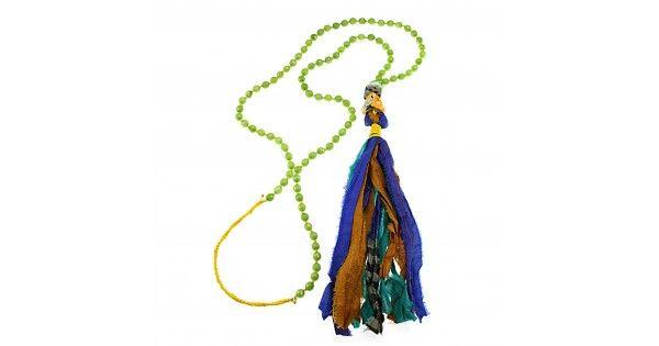 Boho necklace with jade and silk sari tasselLength 61 cm