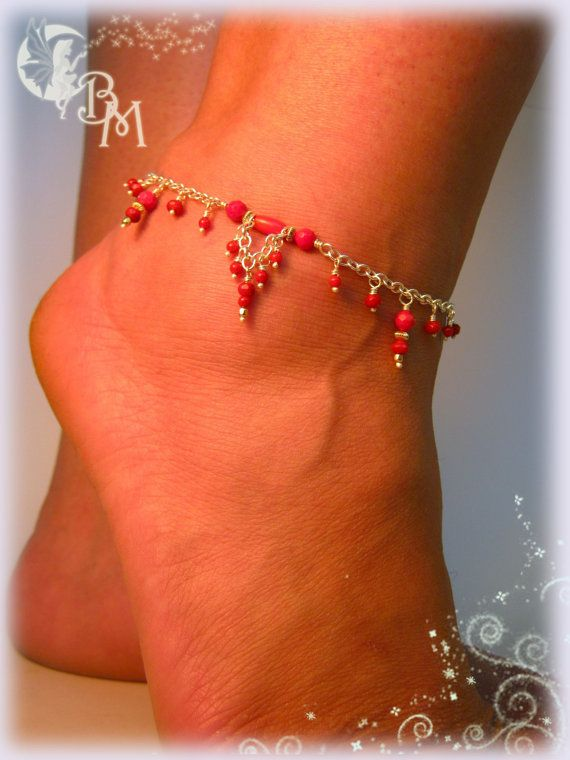 Coral Beaded Anklet by CreationsbyMoonlight on Etsy, $53.00