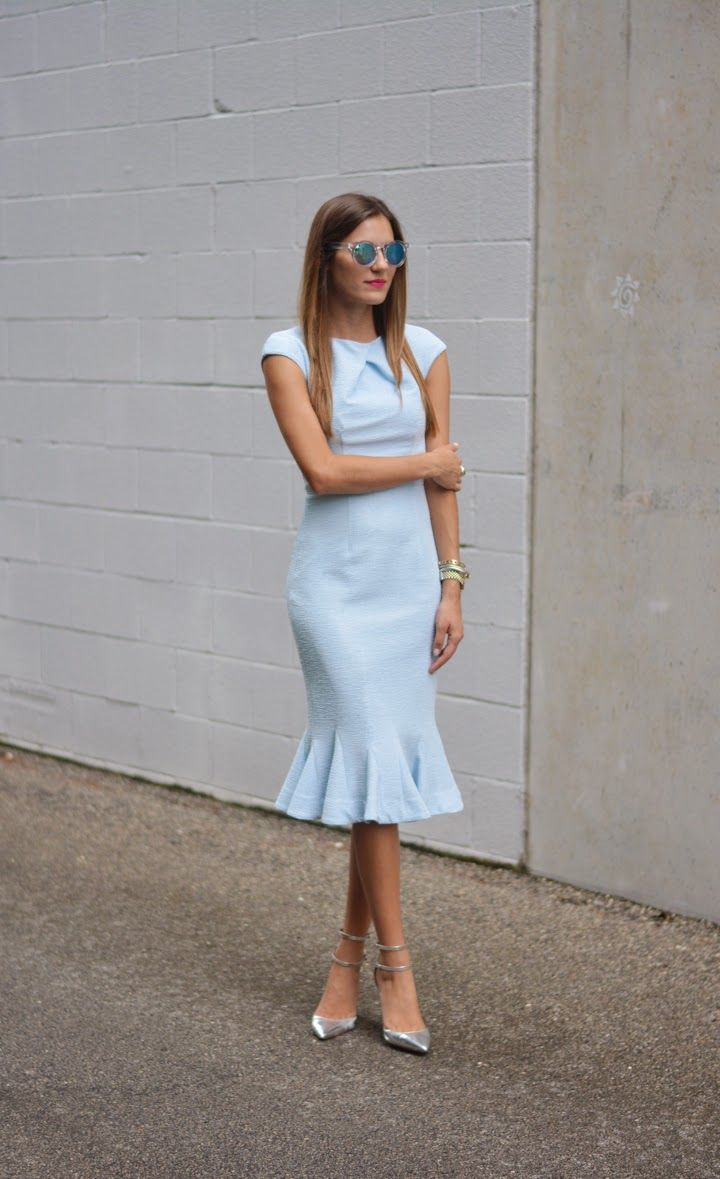 The Quarter Life Closet: Baby Blue Ted Baker Tulip Peplum Dress