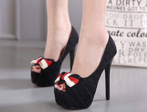 Sweet Bowknot Peep Toe High Heels_peep-toe shoes_WHOLESALE SHOES_Wholesale clothing, Wholesale Clothes Online From China