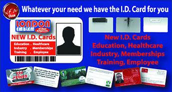 London Emblem has a new product! Plastic ID & Membership cards!  I.D. & Membership Cards can be used for Staff Cards, Photo Cards, Student Cards, Plastic Cards and Identity Cards.  The Identity Cards are plastic and printed to the same standard size of a credit card. They are long lasting and professional looking. They can be printed in full colour both sides, full colour on the front and black to the back or full colour to the front only with the back left white. Employee Cards can include