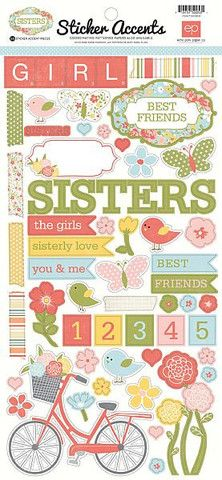 Scrapbooking for Less - Echo Park Cardstock Stickers - Sisters