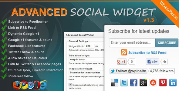 Advanced Social Widget FeedBurner Edition -   adds an advanced widget box to your sidebar giving users the ability to link your site to all the popular Social Networking sites such as Delicious, Twitter, Facebook, StumbleUpon, Pinterest, LinkedIn and access to FeedBurner Email Subscription.