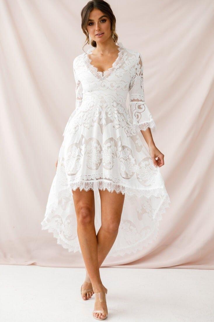 Chantilly High Low Bell Sleeve Dress White Robe De Mariee Mode Robe [ 1100 x 733 Pixel ]