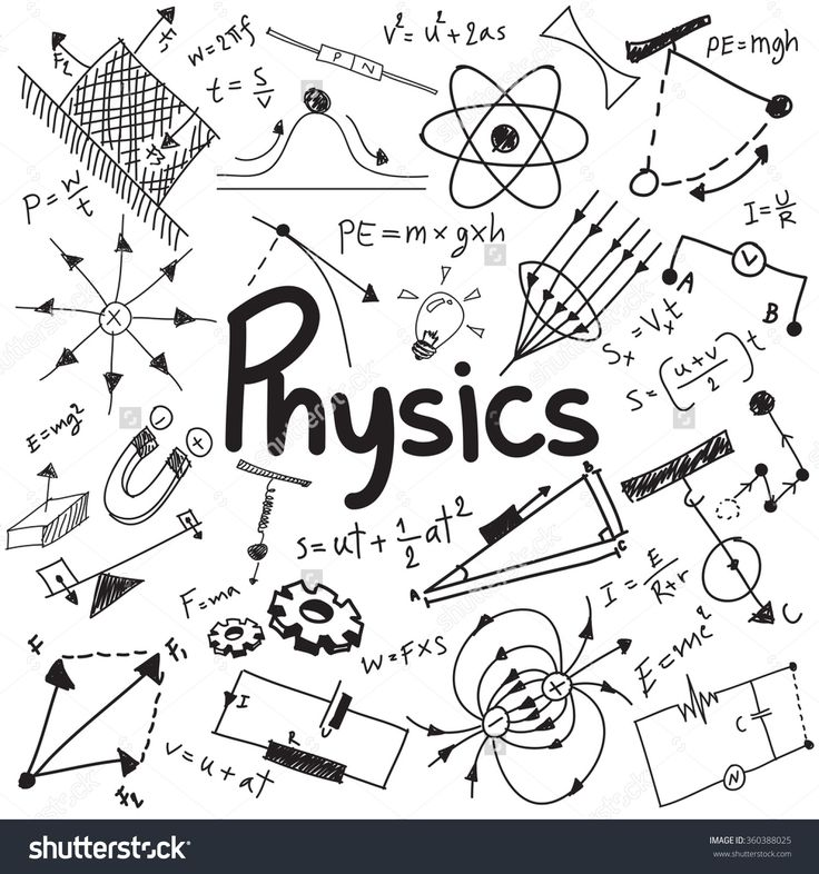 Physics science theory law and mathematical formula equation, doodle handwriting and model icon in white isolated background paper used for school education and document decoration, create by vector h