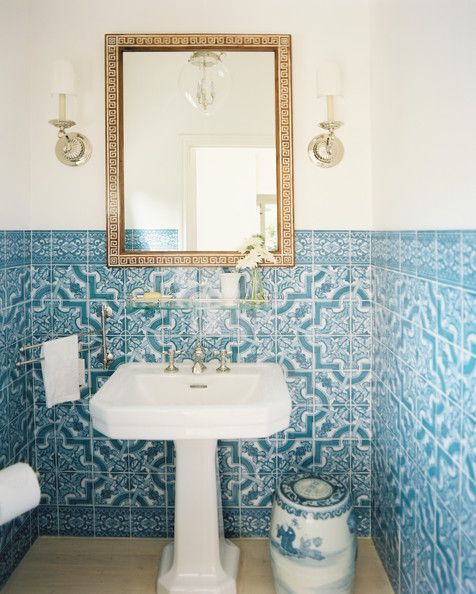 Bathroom - Blue-and-white tile and a pedestal sink in a powder room