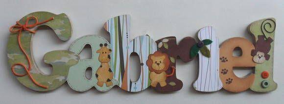 Nome+decorado+em+MDF+e+Scrap,+tema+safari,+personalizado+para+decoração+de+quarto,+porta+maternidade,+festas...+Tema+e+cores+a+sua+escolha R$ 97,24