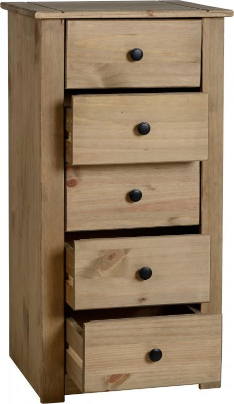 Panama 5 Drawer Narrow Chest in Natural Wax  #Chestdrawersets #Chestsets