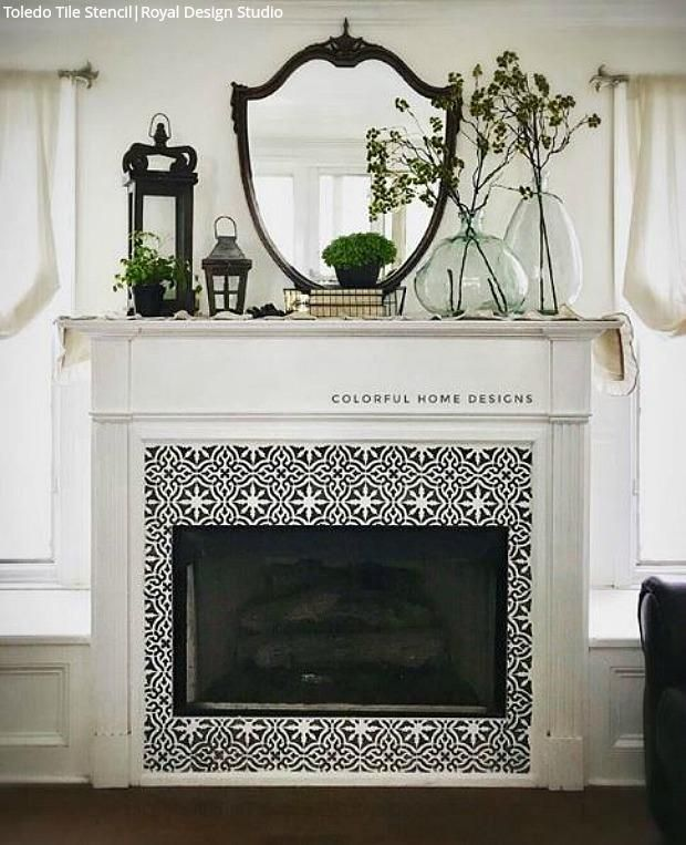 Sizzling Stencil Style Paint Your Fireplace Tiles 14 Diy Decorating Renovation Ideas With Tile Pattern Stencils For Painting Royal Design Studio