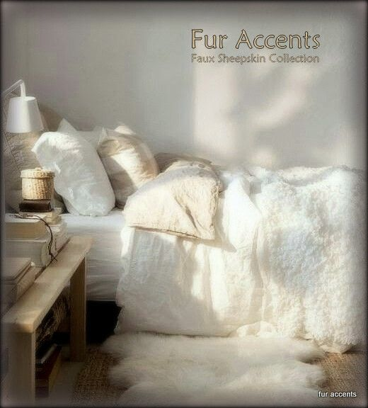 FUR ACCENTS Shaggy White Minky Fleece Throw Blanket / Faux