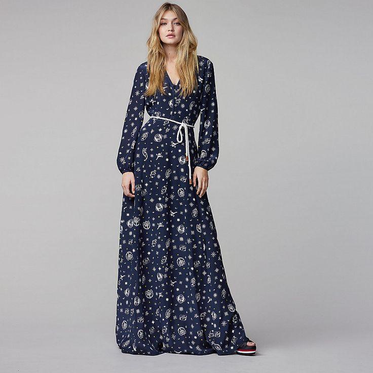 Шелковое платье макси с принтом Tommy Hilfiger Gigi Hadid - gigi compass prt - Платья Tommy Hilfiger - главное изображение