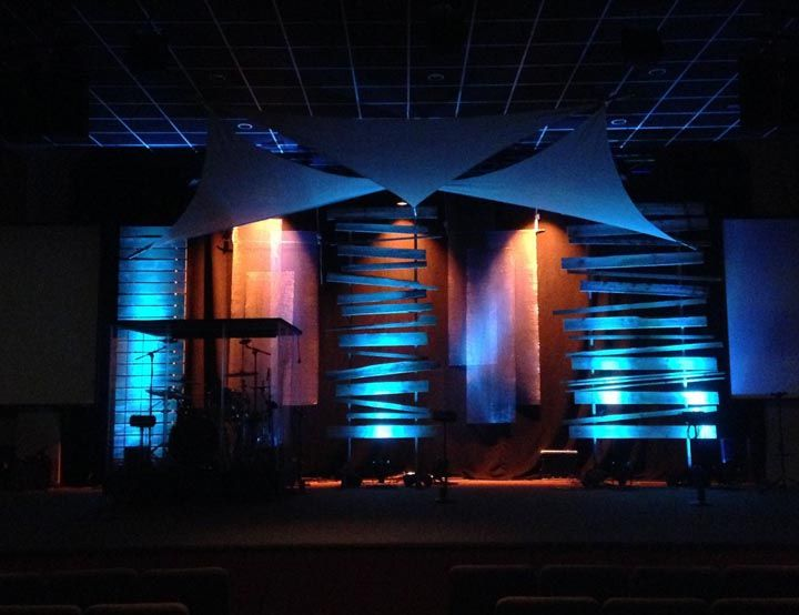 This Edgy Stage Design Includes Scrap Wood Metal Lathe