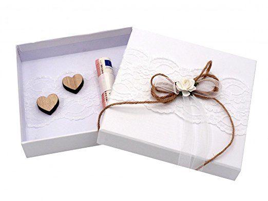 Geldgeschenk MIRA Verpackung Vintage Weiß Hochzeit Hochzeitsreise Urlaub Geburtstag