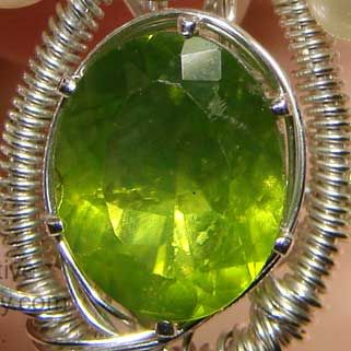 Faceted Peridot Example stone of Peridot is used in crystal healing to lessen stress, especially in relationships,
