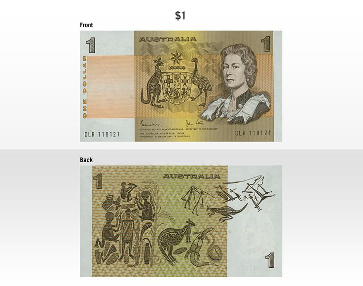Australia's first decimal banknote was the $1 paper banknote issued in 1966. It features Her Majesty Queen Elizabeth II and representations of Aboriginal art based on the work of David Malangi and others. It was replaced by a $1 coin in 1984.