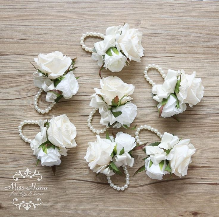 Ivory Rose Corsage White hydrangea corsage Bridesmaid wrist