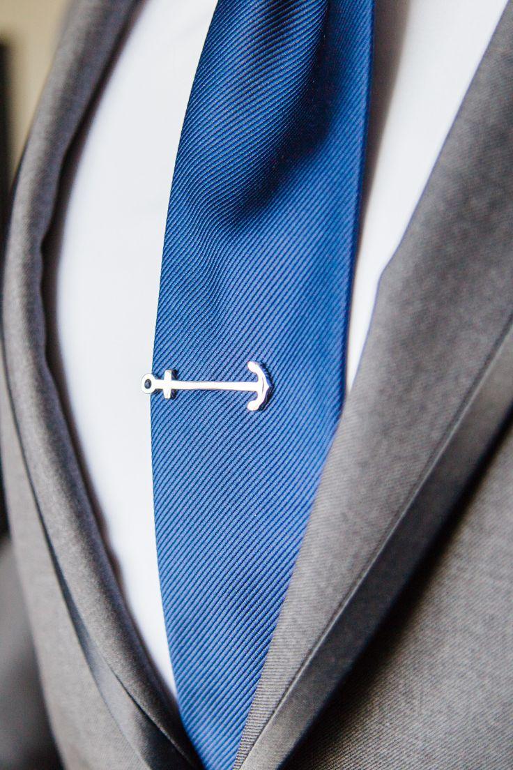 Silver Anchor Tie Clip