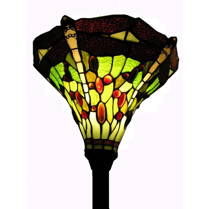 Warehouse of Tiffany 72 in. Antique Bronze Dragonfly Stained Glass Floor Lamp with Foot Switch-1510+BB75B - The Home Depot