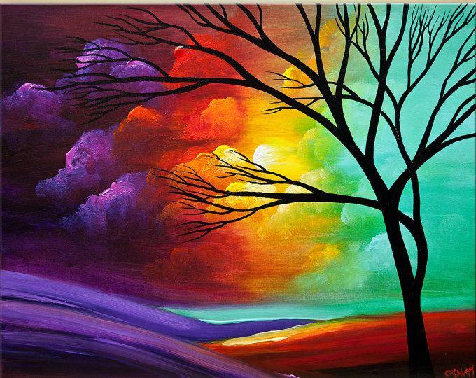 Nombre de la pintura: Nuevo amanecer  Tamaño: 54 x 30 (1 x 24 x 30 + 2 x 15 x 30)  Medio: Acrílico sobre lienzo estirado galería-envuelto  Esta pintura de paisaje fue pintada en un staples gratis partes de la lona. Está listo para colgar. Esta pintura del árbol abstracto fue pintada en un lienzo envuelto en mi estudio. Esta pintura de árbol nace con pinturas de gran calidad y materiales. Fue revestido con barniz para proteger los colores por tiempo prolongado y para asegurar durabilidad y…
