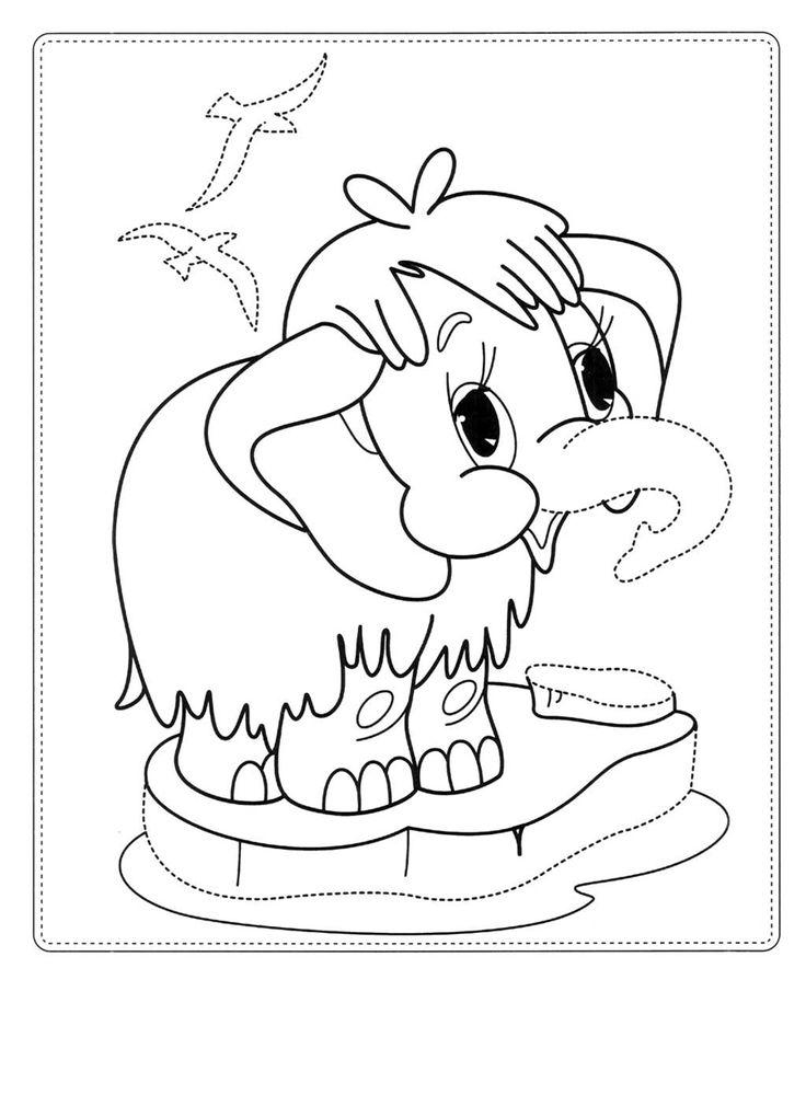 раскраска Мама для мамонтенка мамонтенок в океане