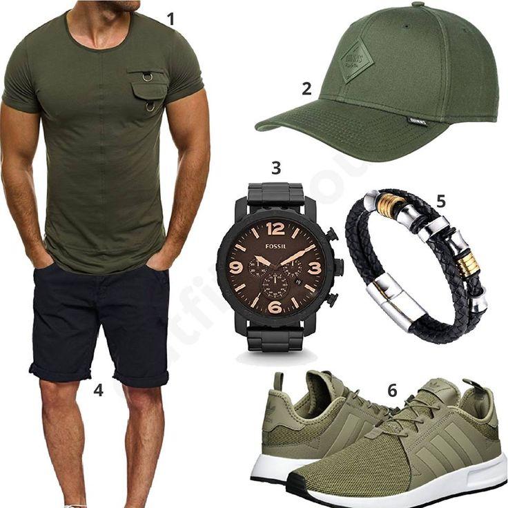 Cooler Männer-Style mit khaki Ozonee T-Shirt, Djinns Cap, schwarzer Indicode Shorts, Fossil Armbanduhr, Halukakah Armband und Adidas Sportschuhen.