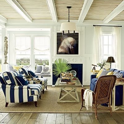 Living room - Beach Norfolk, Virginia. The beach house is decorated by Phoebe Howard