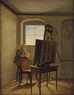 Georg Friedrich Kersting - Caspar David Friedrich nel suo studio