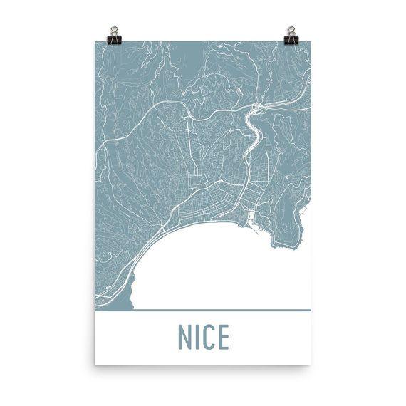 Nice Map Art Print, Nice France Art Poster, Nice Wall Art, Map of Nice, Nice Print, Nice Gift, Nice Poster, Birthday, Decor, Modern, Art