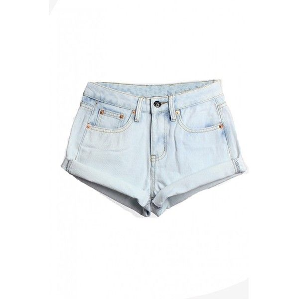 LUCLUC Light Blue Turn-up High Waist Denim Shorts ($19) ❤ liked on Polyvore featuring shorts, lucluc, bottoms, pants, highwaisted shorts, denim short shorts, high rise shorts, jean shorts and short jean shorts