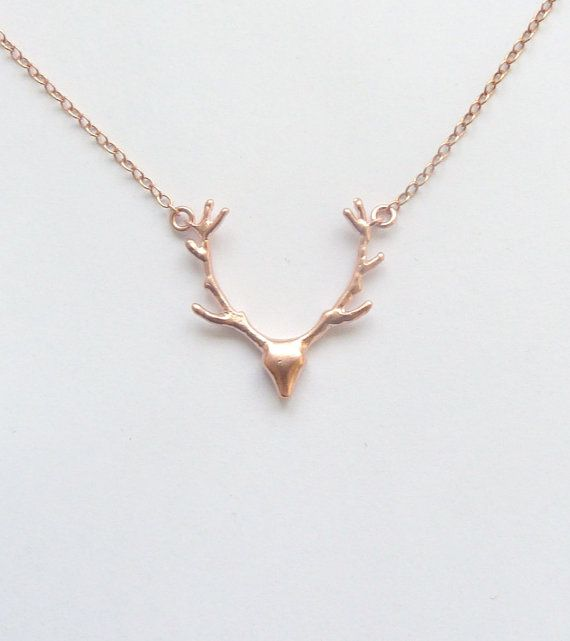Rustic Wedding Jewelry Rose Gold Antler by vintagestampjewels