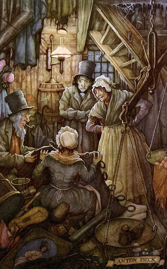 ``Let the charwoman alone to be the first!'' cried she who had entered first. ``Let the laundress alone to be the second; and let the undertaker's man alone to be the third. Look here, old Joe, here's a chance! If we haven't all three met here without meaning it!''